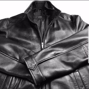 Alfani mens black leather jacket